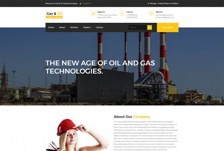 Gas Oil Trading HTML Website Template