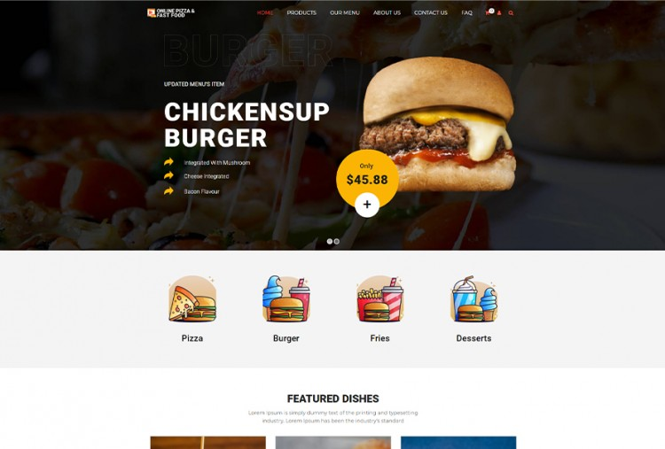 Online Pizza Ordering And Fast Food Wordpress Theme