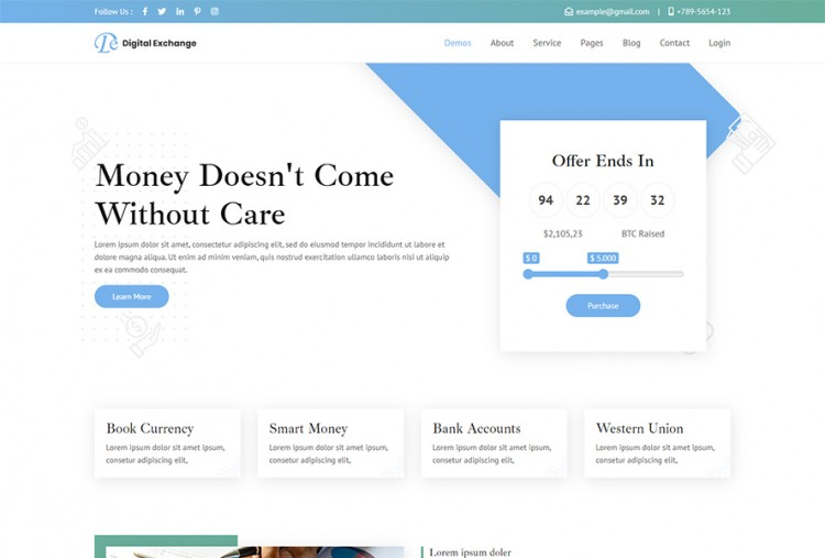 Digital Exchange HTML Website Template   Cryptocurrency Website Template