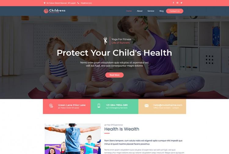 Children Fitness Classes WordPress Theme