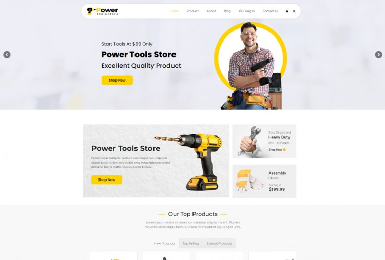 Power Tools Store Wordpress Theme