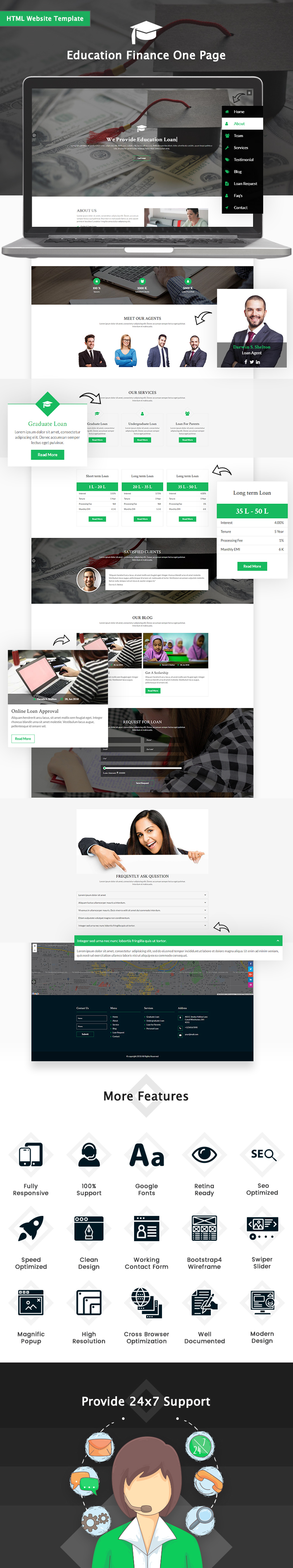 Education Finance One Page HTML Website Template