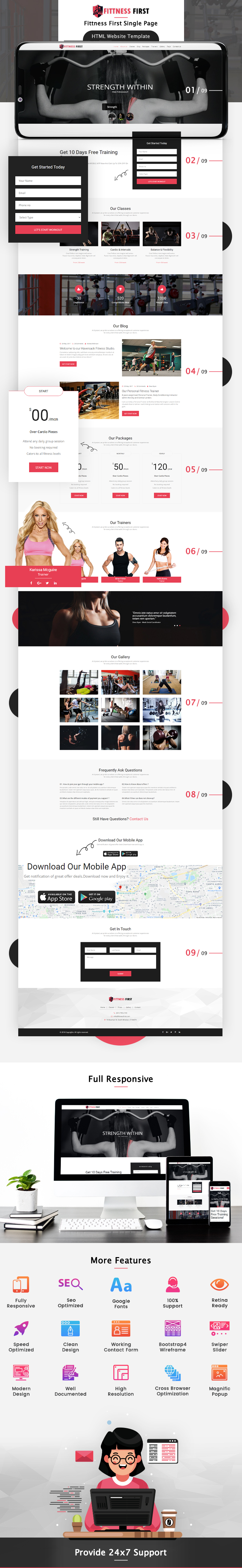 Fitness First Single Page HTML Website Template