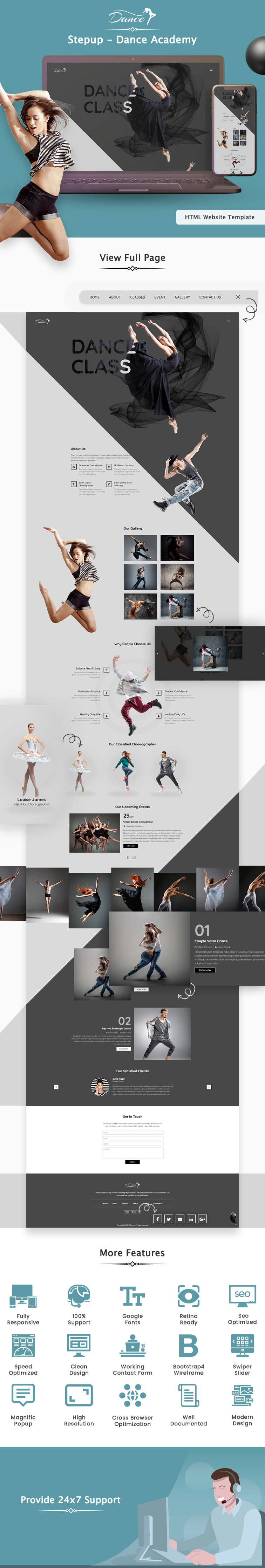 StepUp - Dance Academy Multi Page HTML Website Template