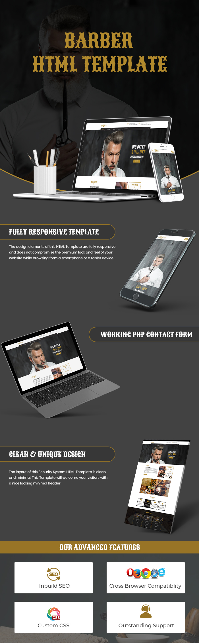 barber shop html website template template bundle. Black Bedroom Furniture Sets. Home Design Ideas