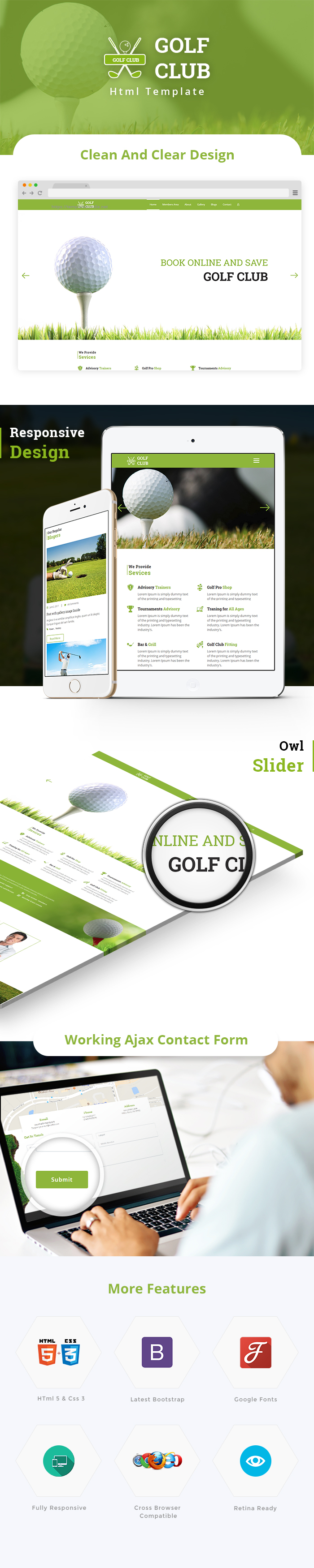 Golf Club HTML Website Templates