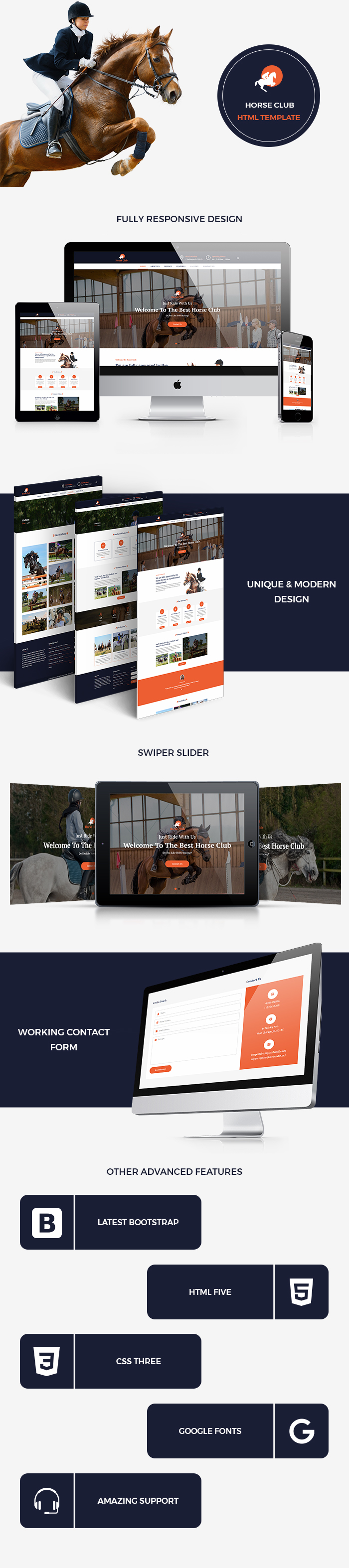 Horse Club HTML Website Templates