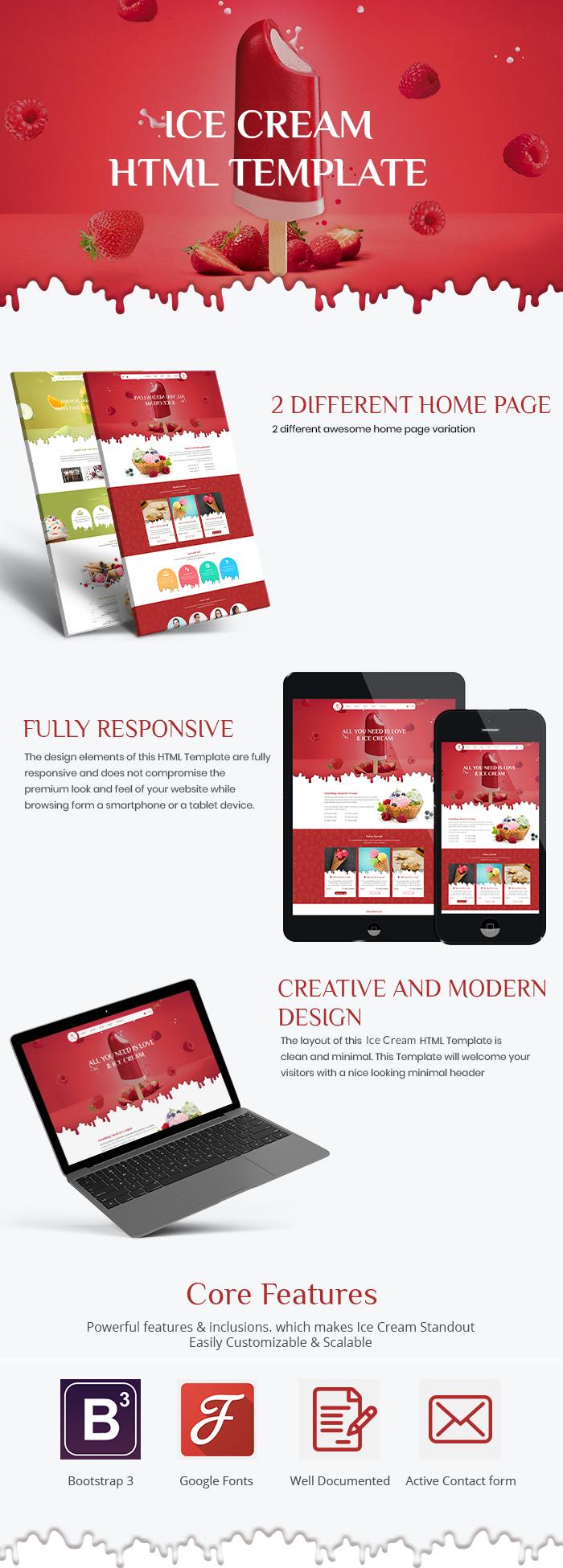 Ice Cream Parlour HTML Website Templates