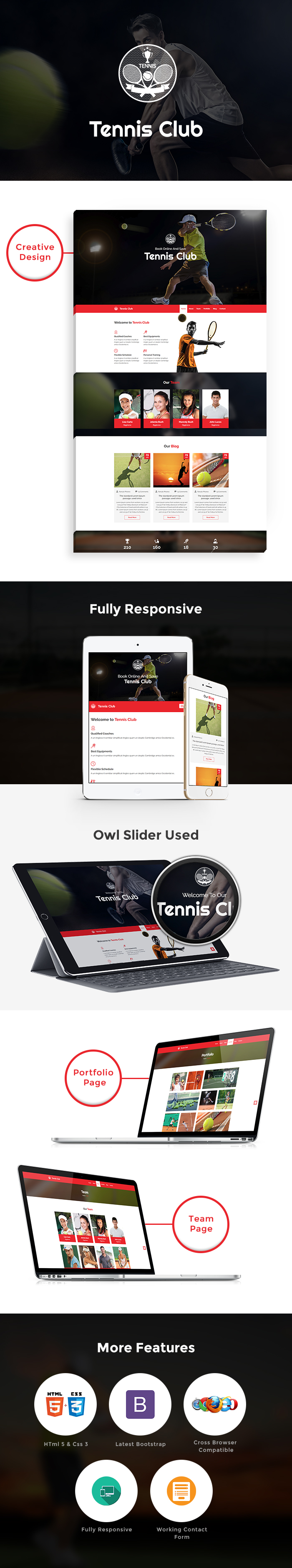 Tennis Club HTML Website Templates