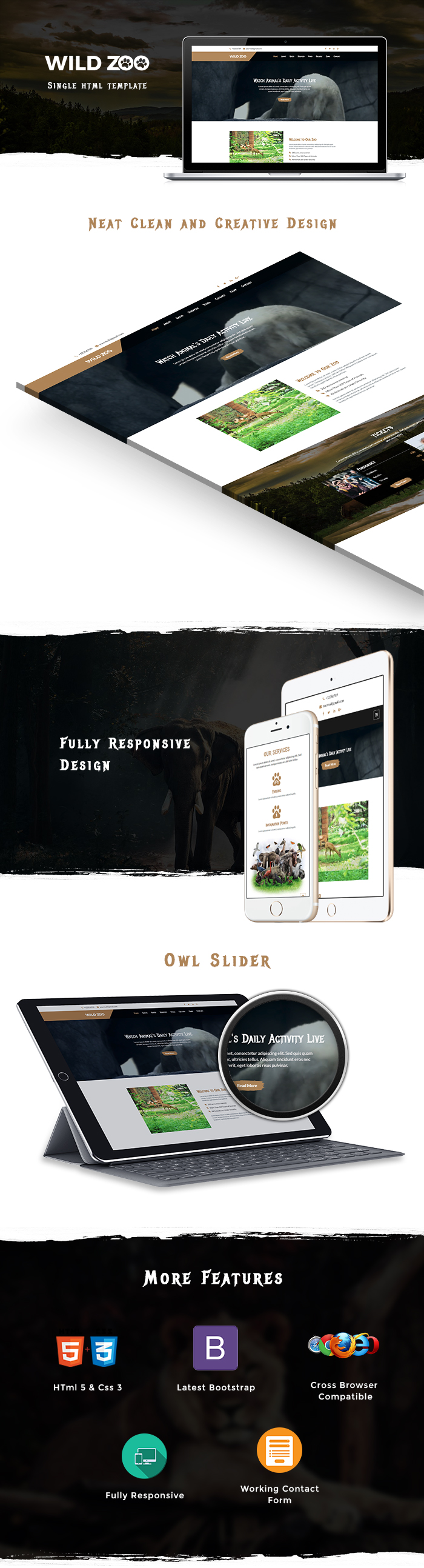 Wild Life One Page HTML Website Templates