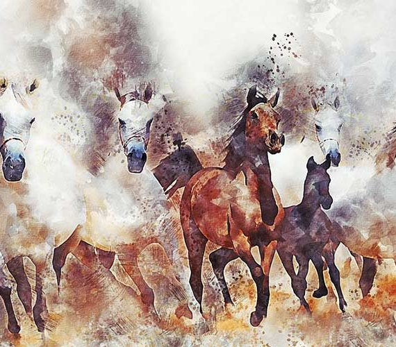 Horse riding art painting